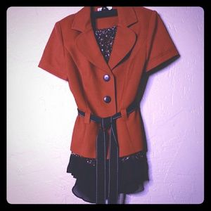 2PC Skirt Set in Burnt Orange and Brown